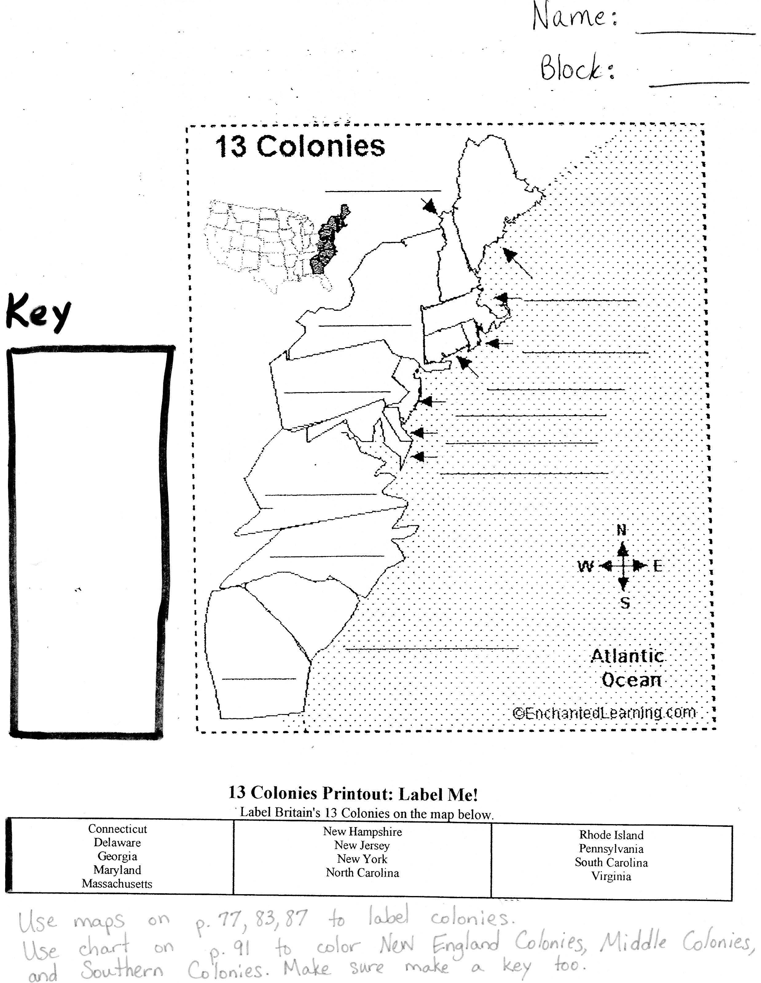 13 Best Images Of 13 Colonies Map Worksheet