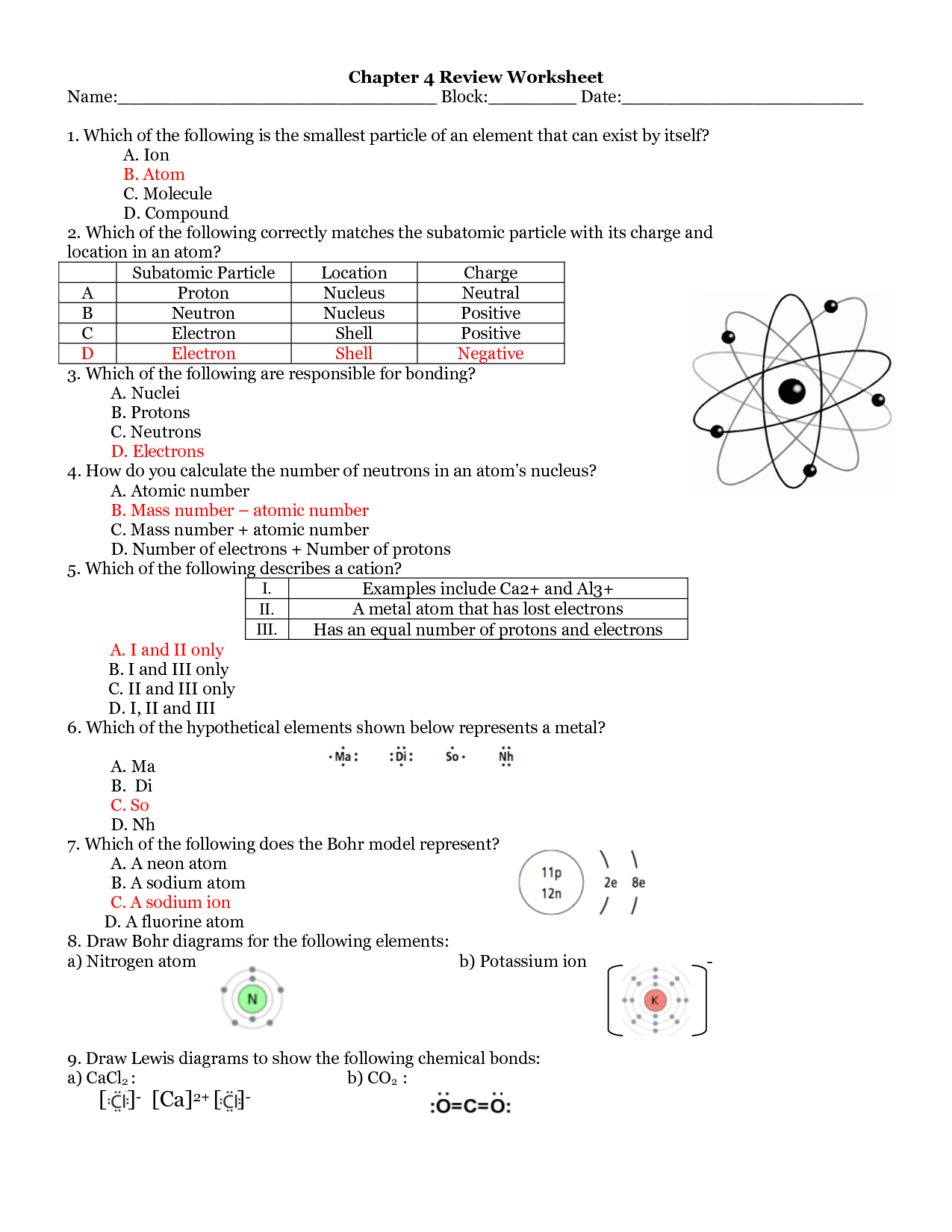11 Best Images Of Atom Worksheets With Answer Keys