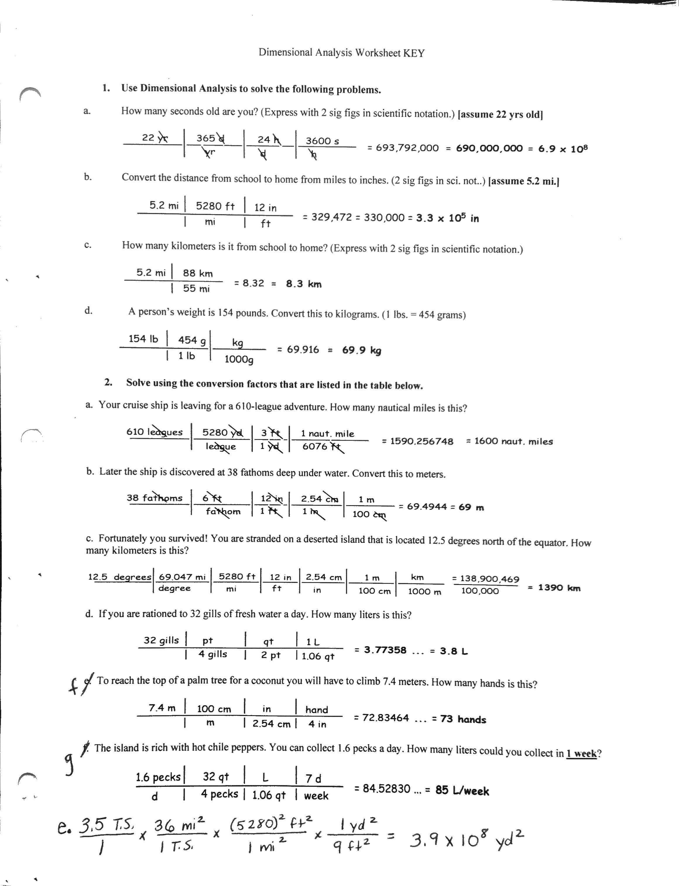 29 Dimensionalysis Worksheet Answers