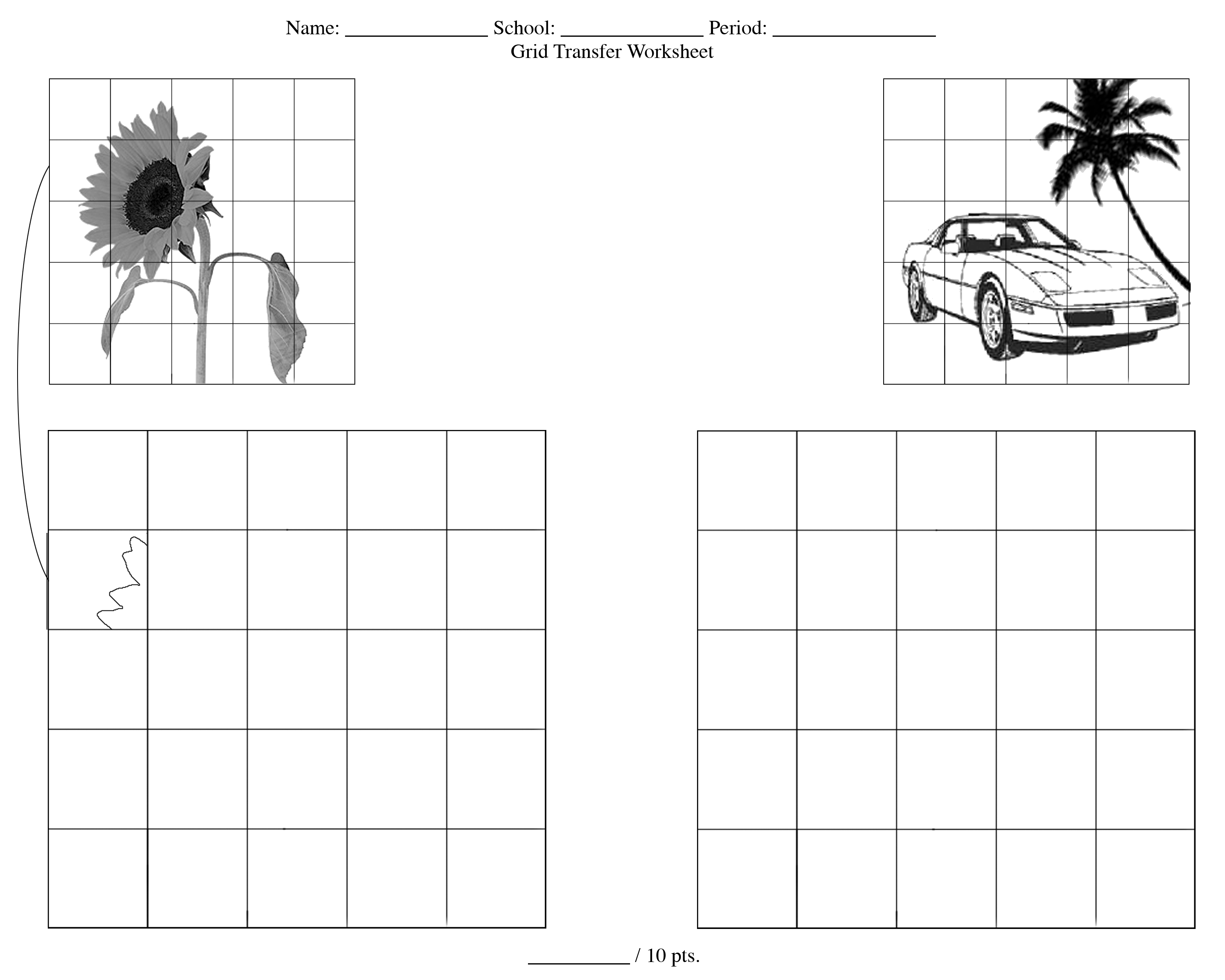 Grid Drawing Worksheet Animals