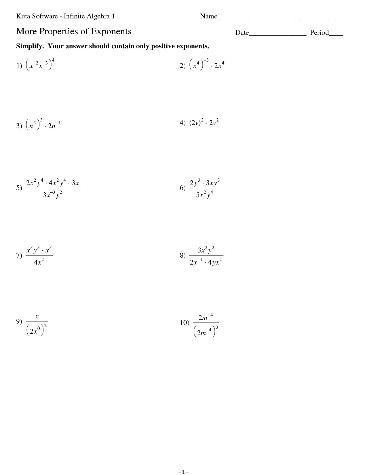 33 Properties Of Exponents Worksheet Algebra 2