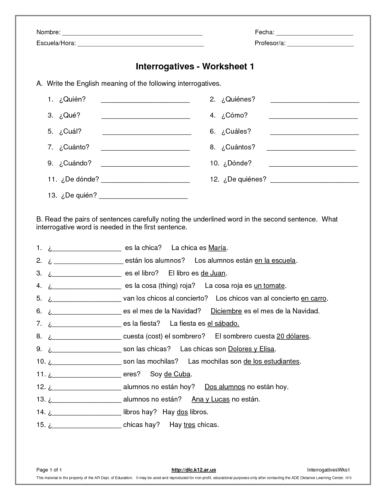 11 Best Images Of Printable Spanish Vocabulary Worksheets