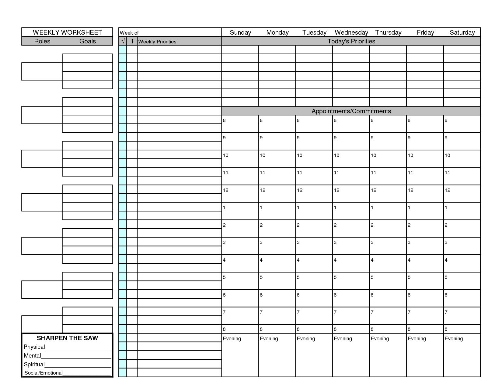 5 Best Images Of Goal Setting Worksheet Weekly Planner