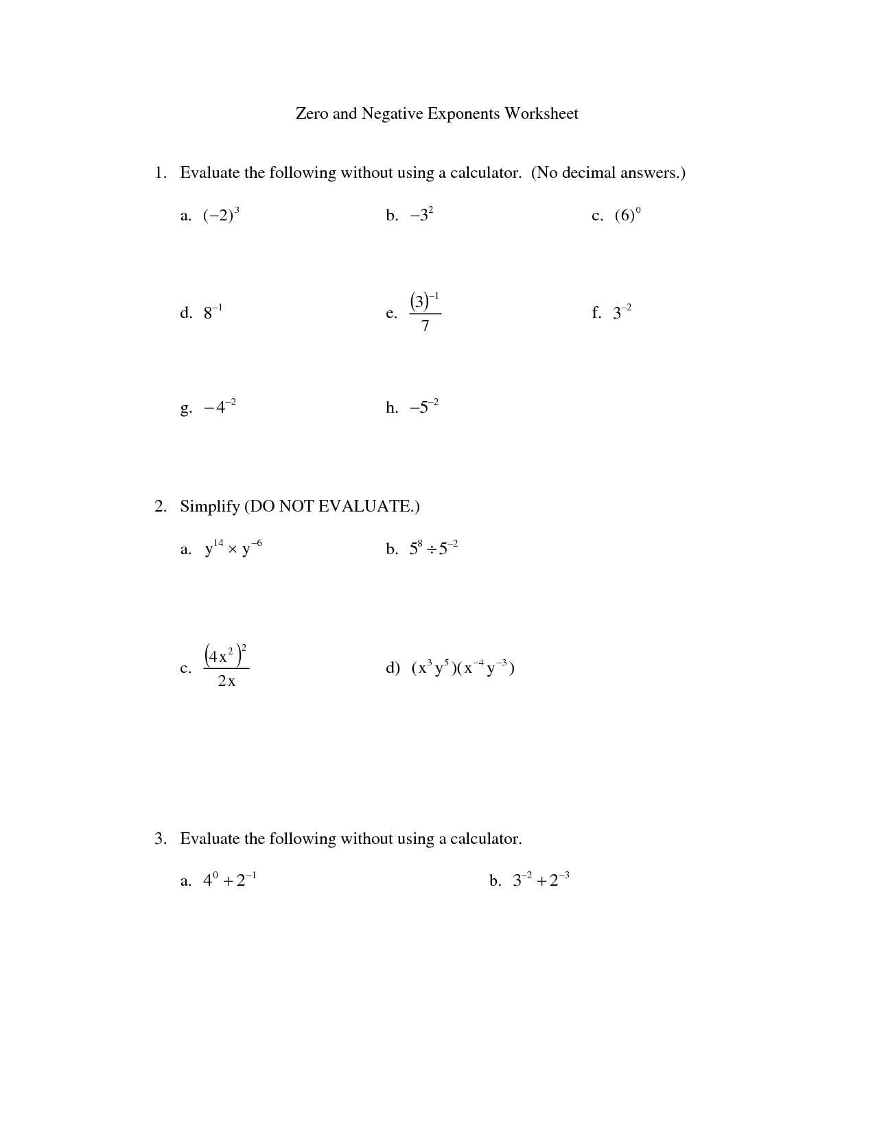 33 Exponents With Multiplication And Division Worksheet