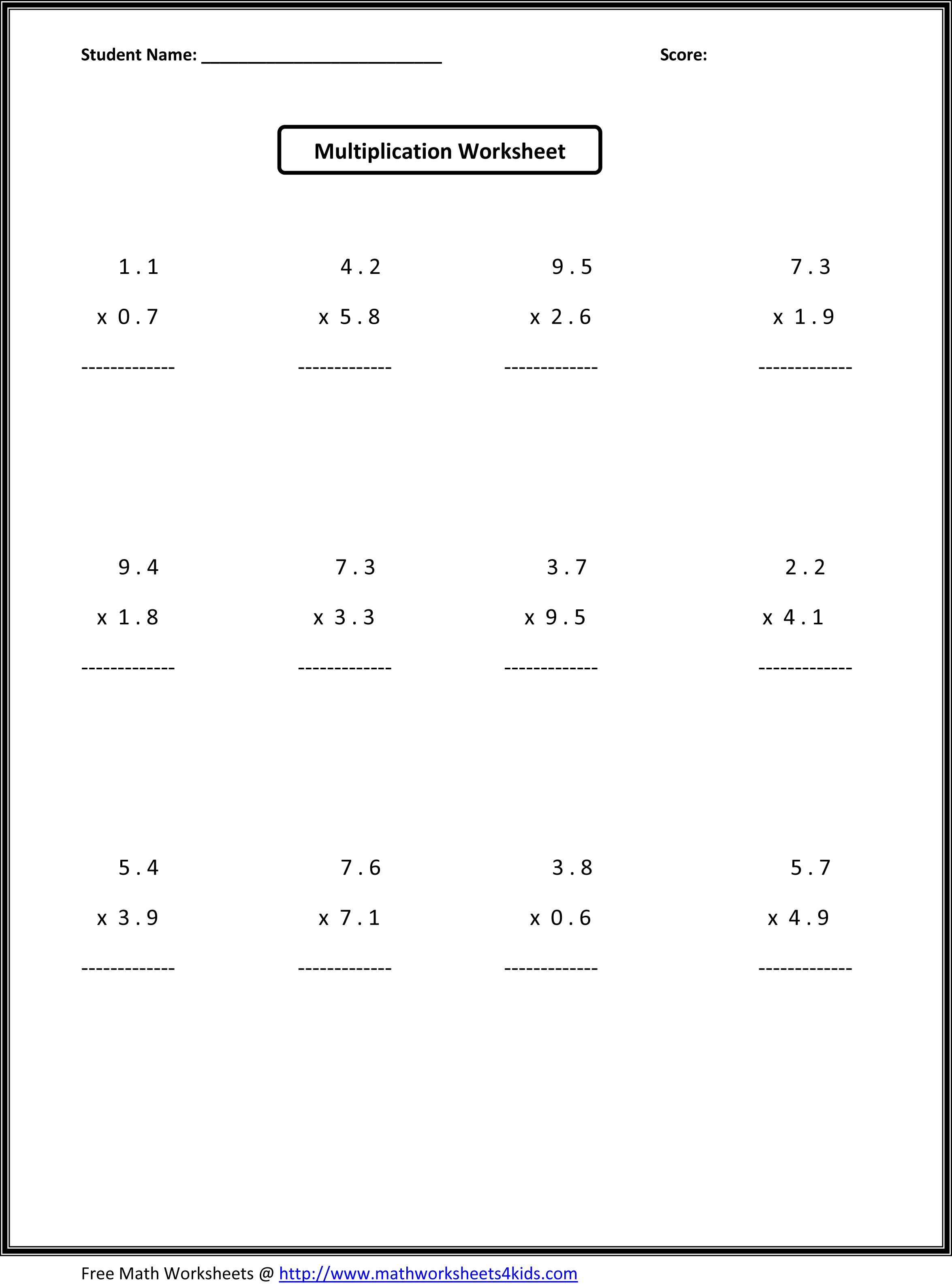 6th Grade Math Enrichment Worksheet