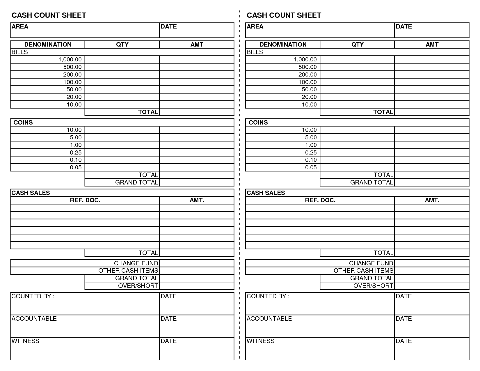 19 Best Images Of Cash Count Worksheet