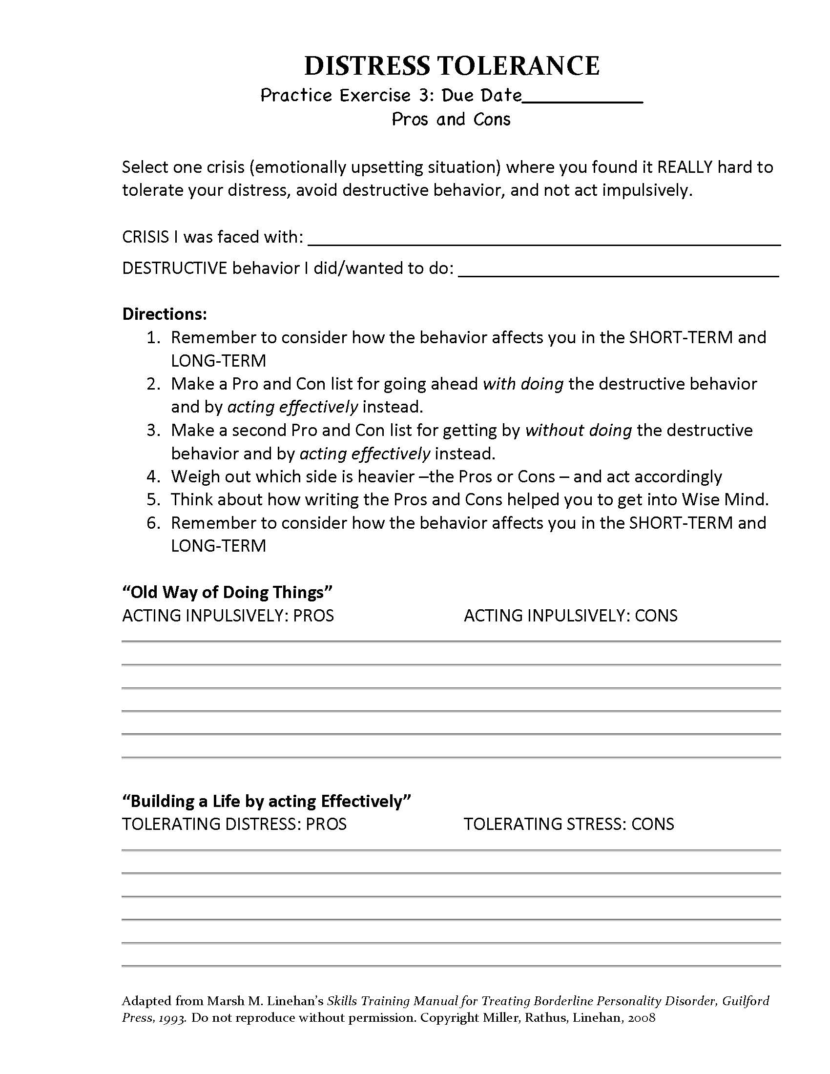 14 Best Images Of Dbt Skills Worksheets