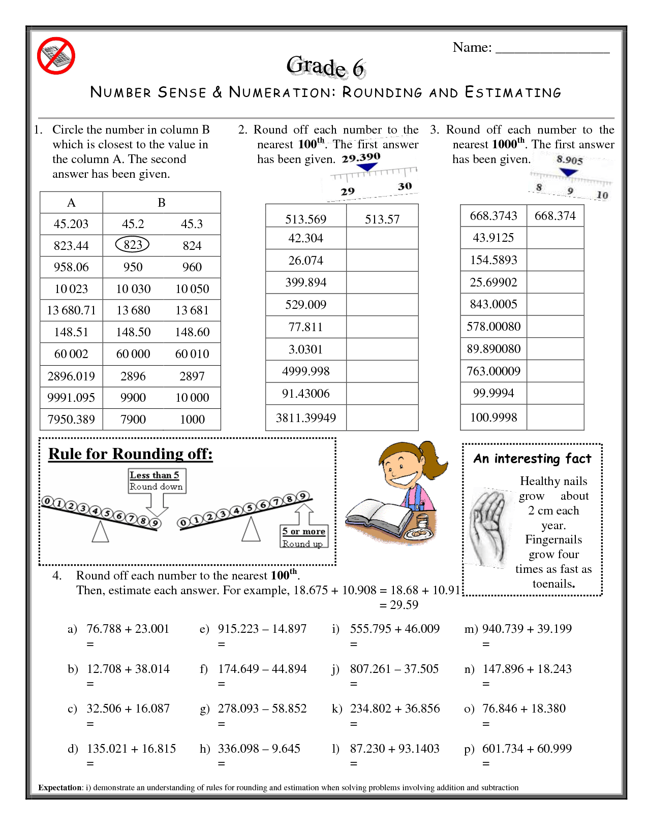 12 Best Images Of Rounding Decimals Worksheet Generator
