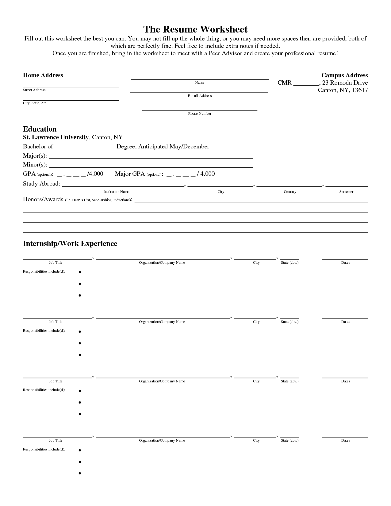 Blank Insolvency Worksheet
