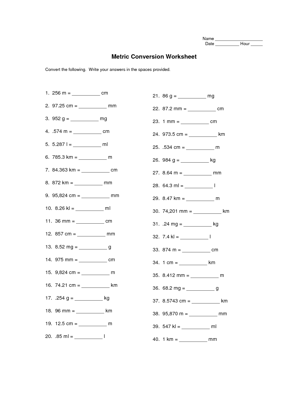 15 Best Images Of Converting Metric Units Worksheet 5th