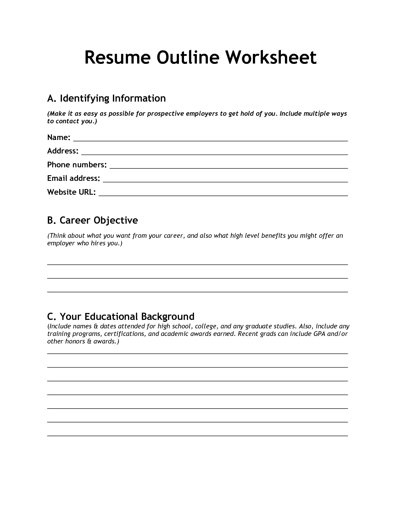 10 Best Images Of Blank Resume Template Worksheet