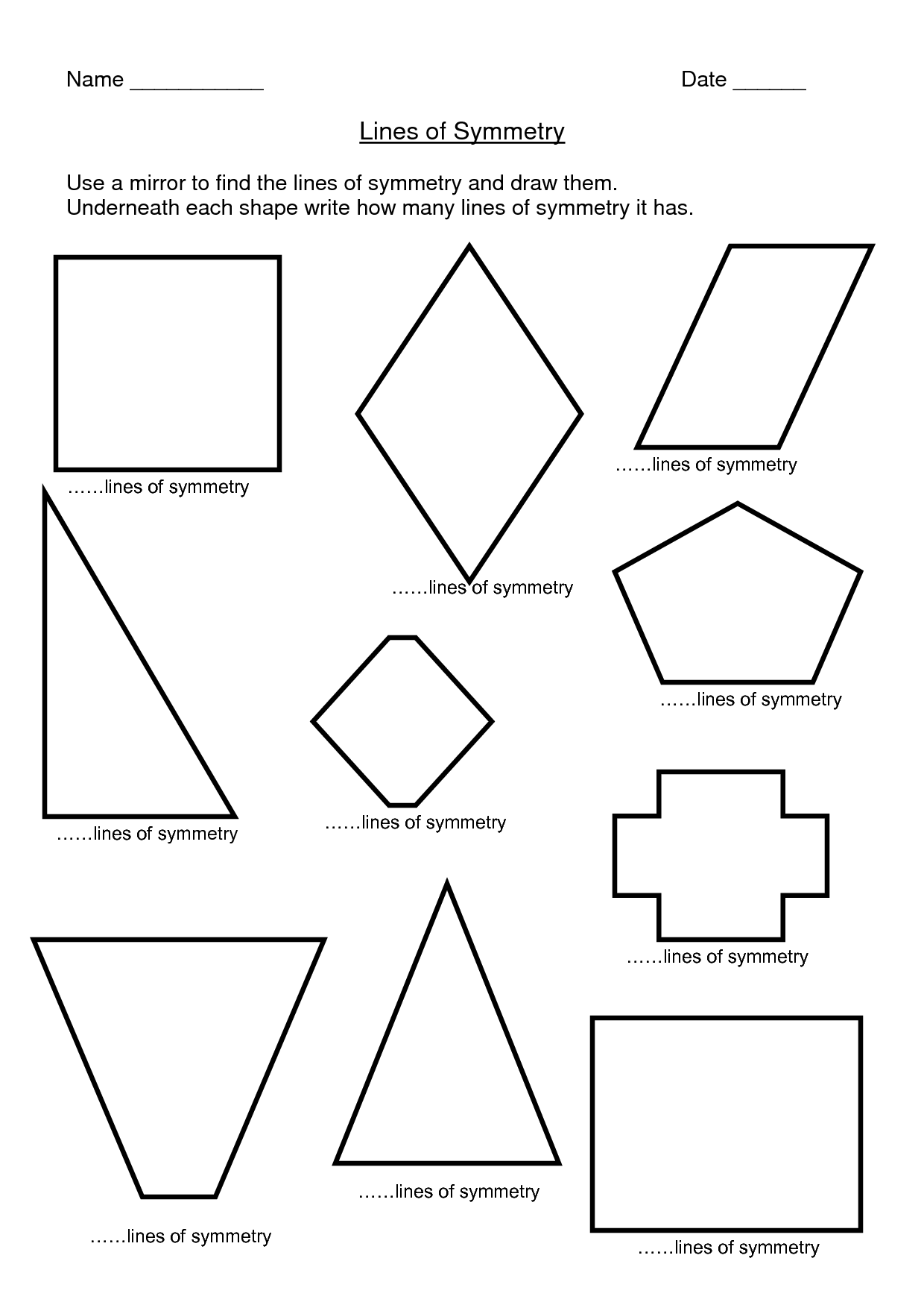 Symmetry Shape Worksheet