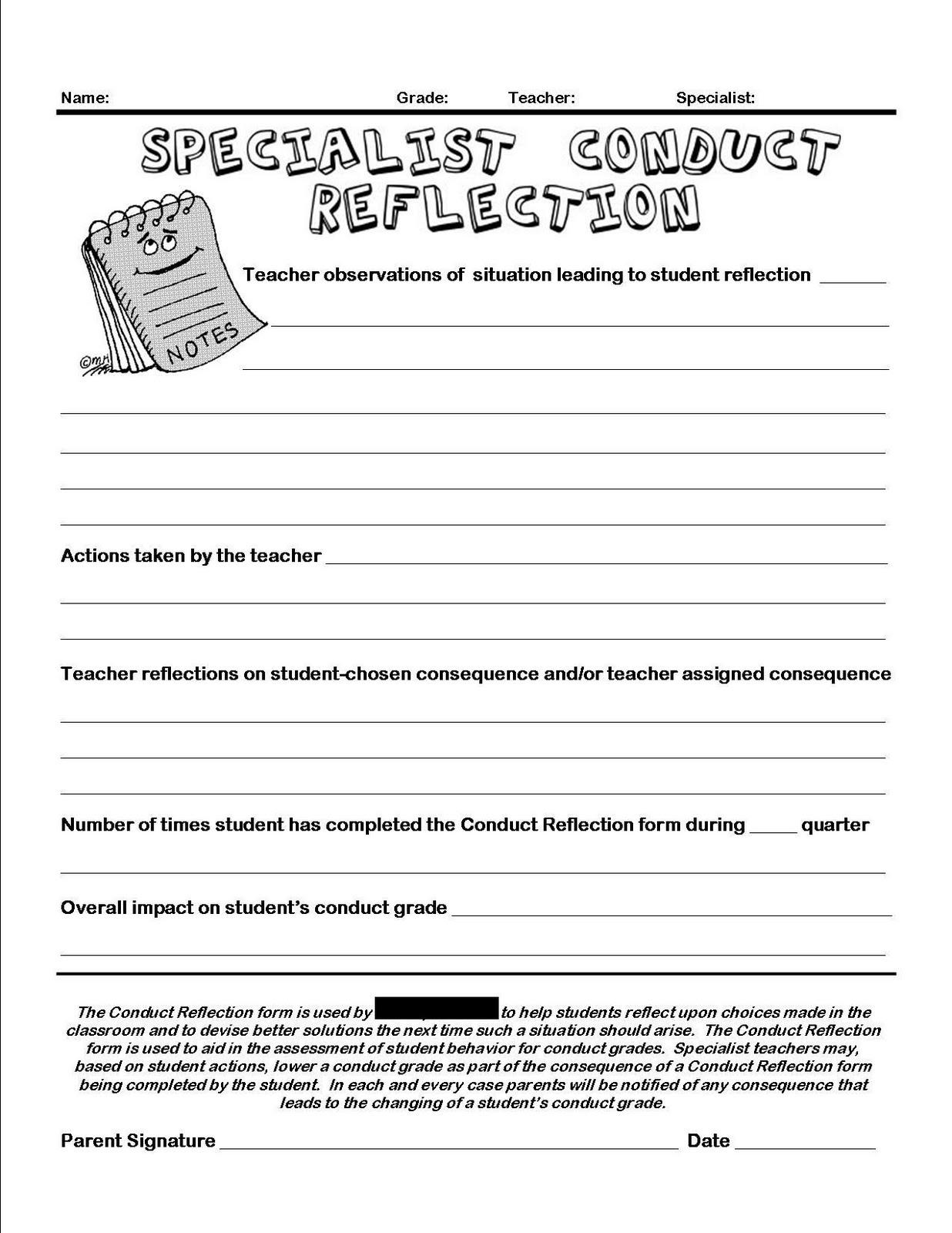 18 Best Images Of Student Behavior Reflection Worksheets
