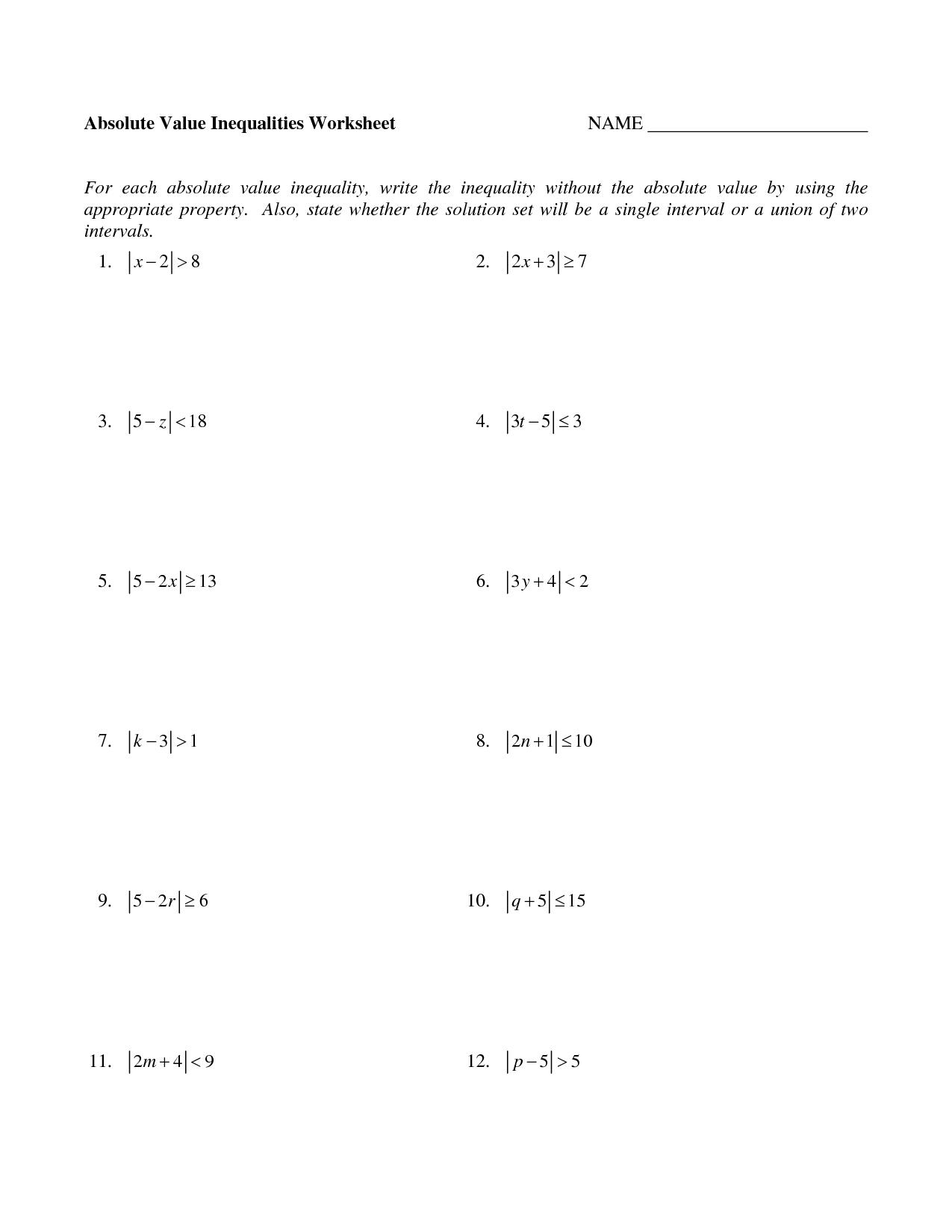 19 Best Images Of Algebra Solving Inequalities Worksheets