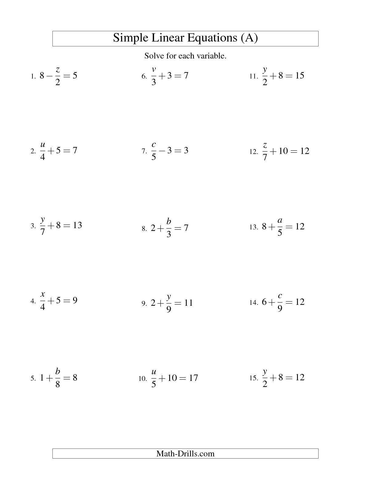 14 Best Images Of Algebra 1 Solving Equations Worksheets