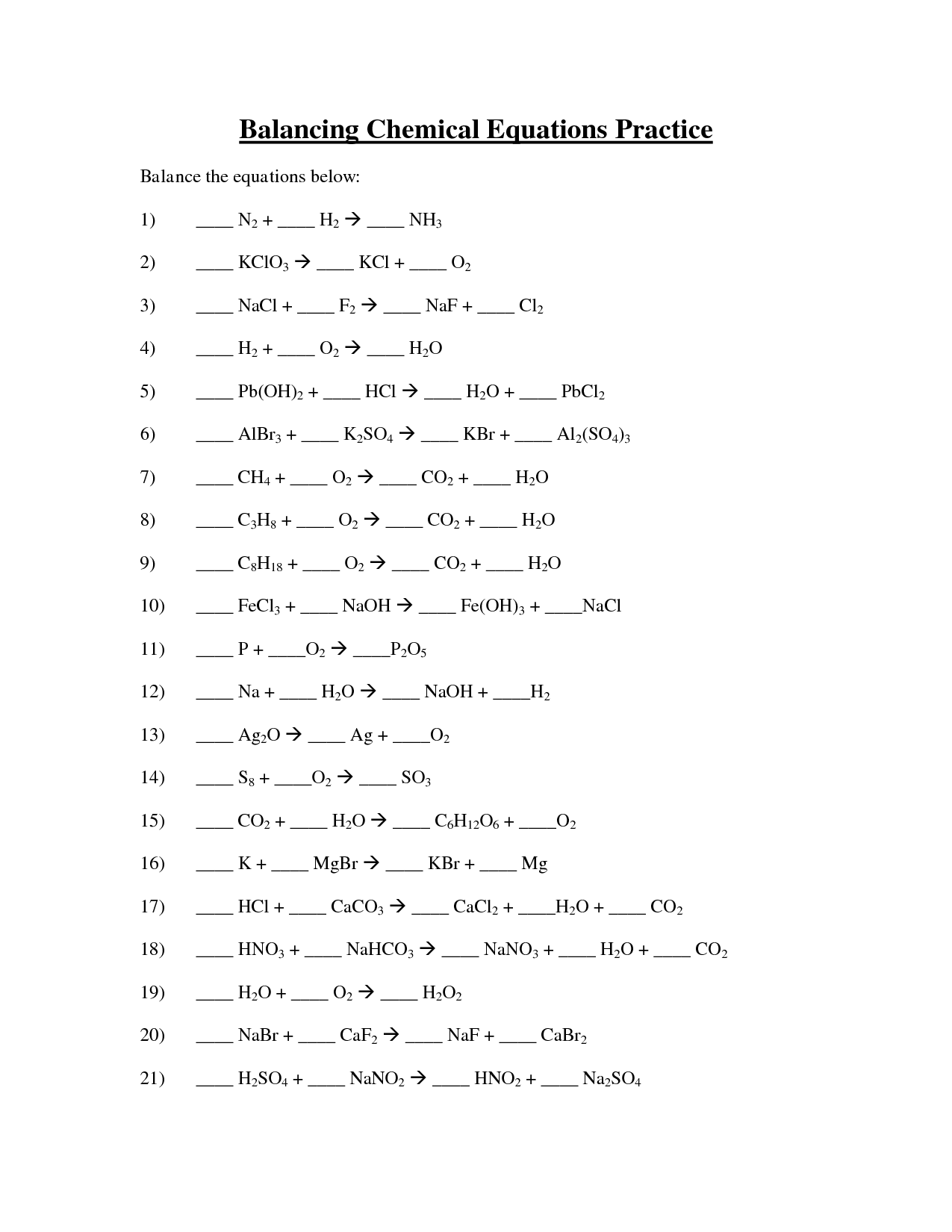 Balancing Equations Worksheet Ks2