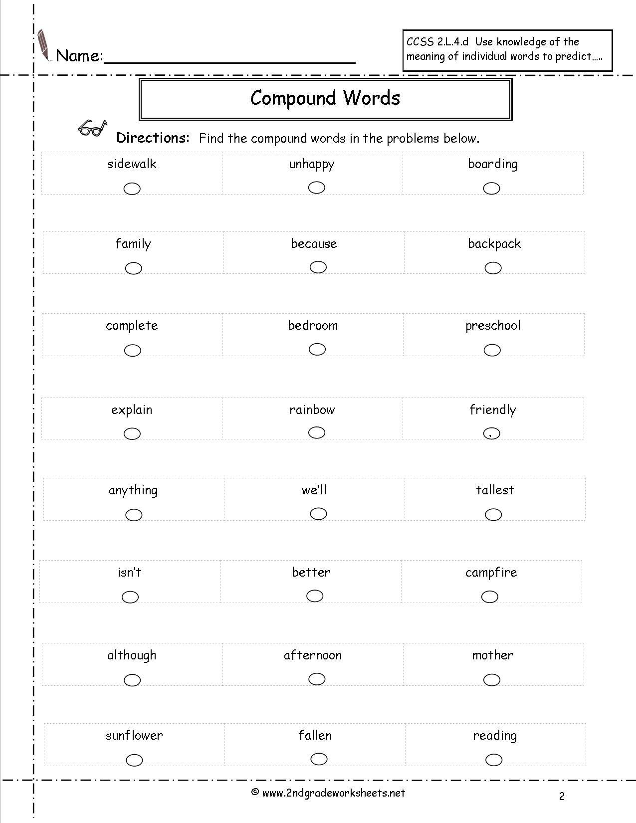 12 Best Images Of Compound Word Worksheets And Meanings