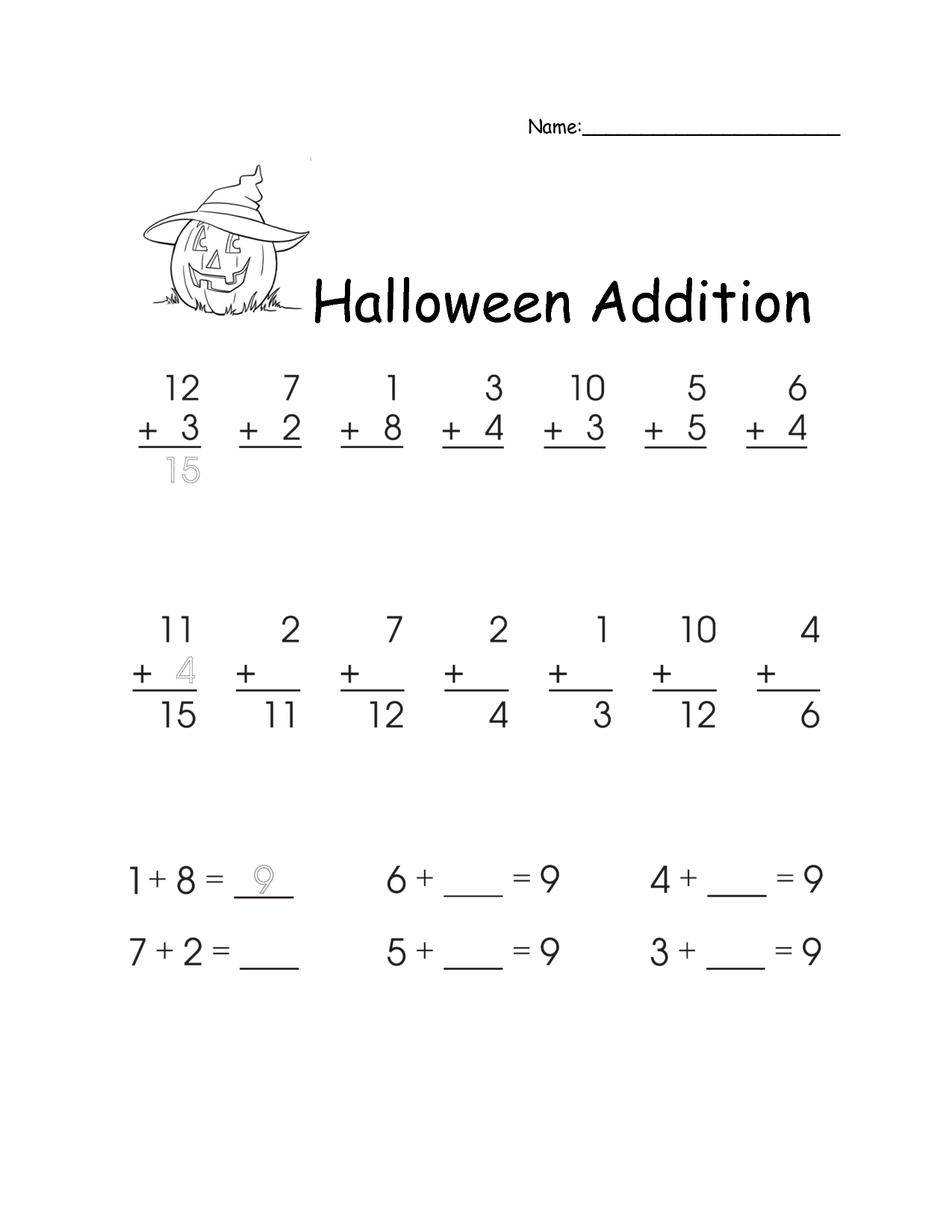 18 Best Images Of First Grade Fall Addition Worksheets