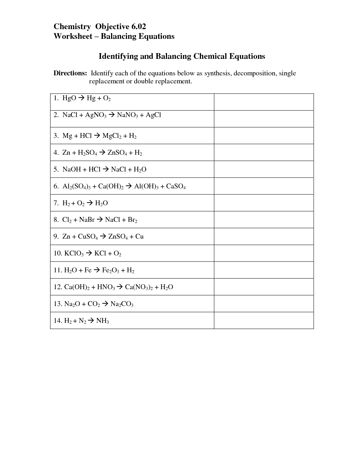 Chemical Equations Worksheet 6th Grade