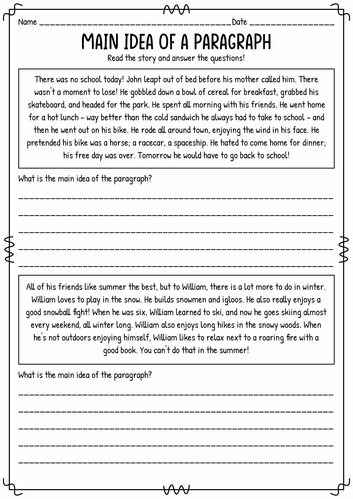 14 Best Images Of Main Idea Worksheets Grade 5