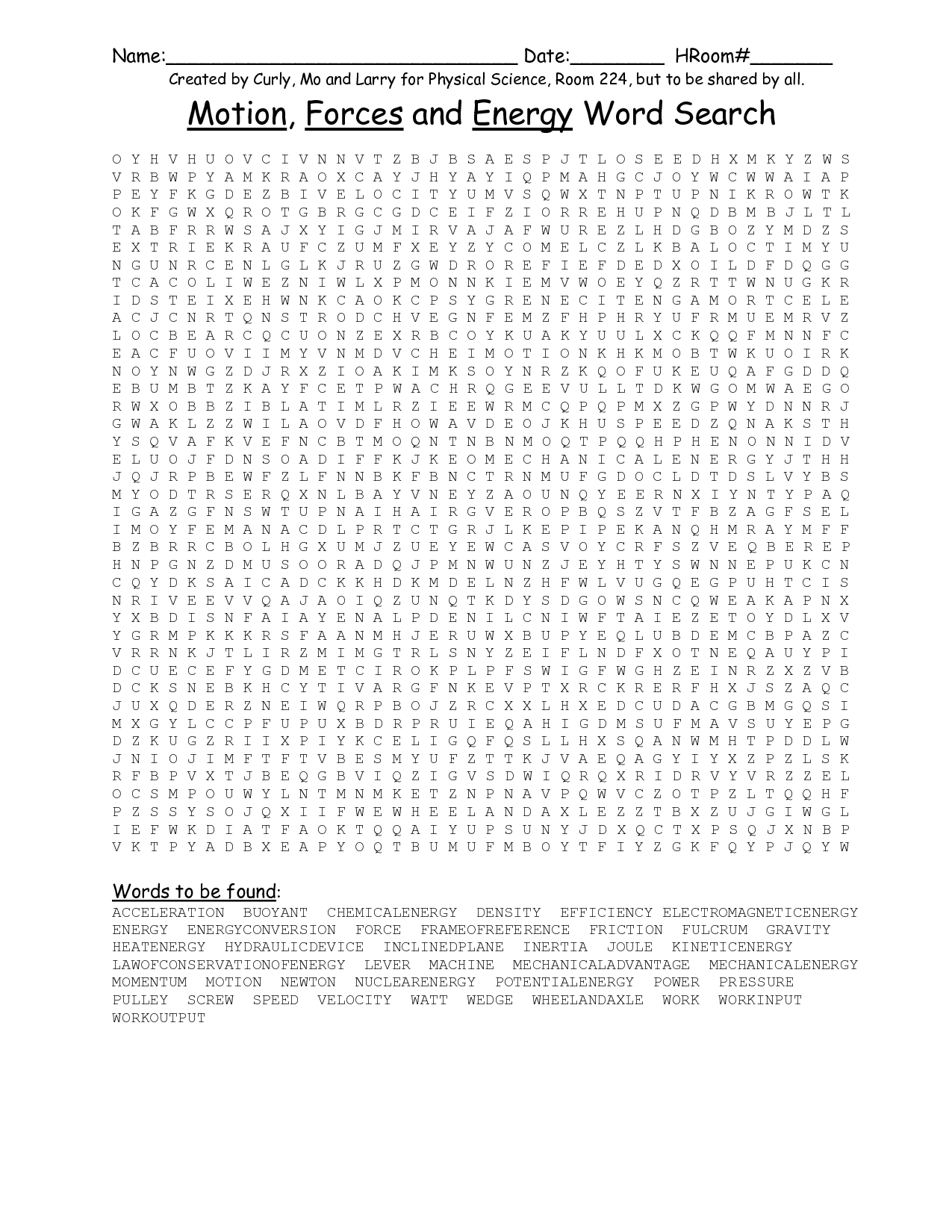 14 Best Images Of Physical Science Word Search Worksheet