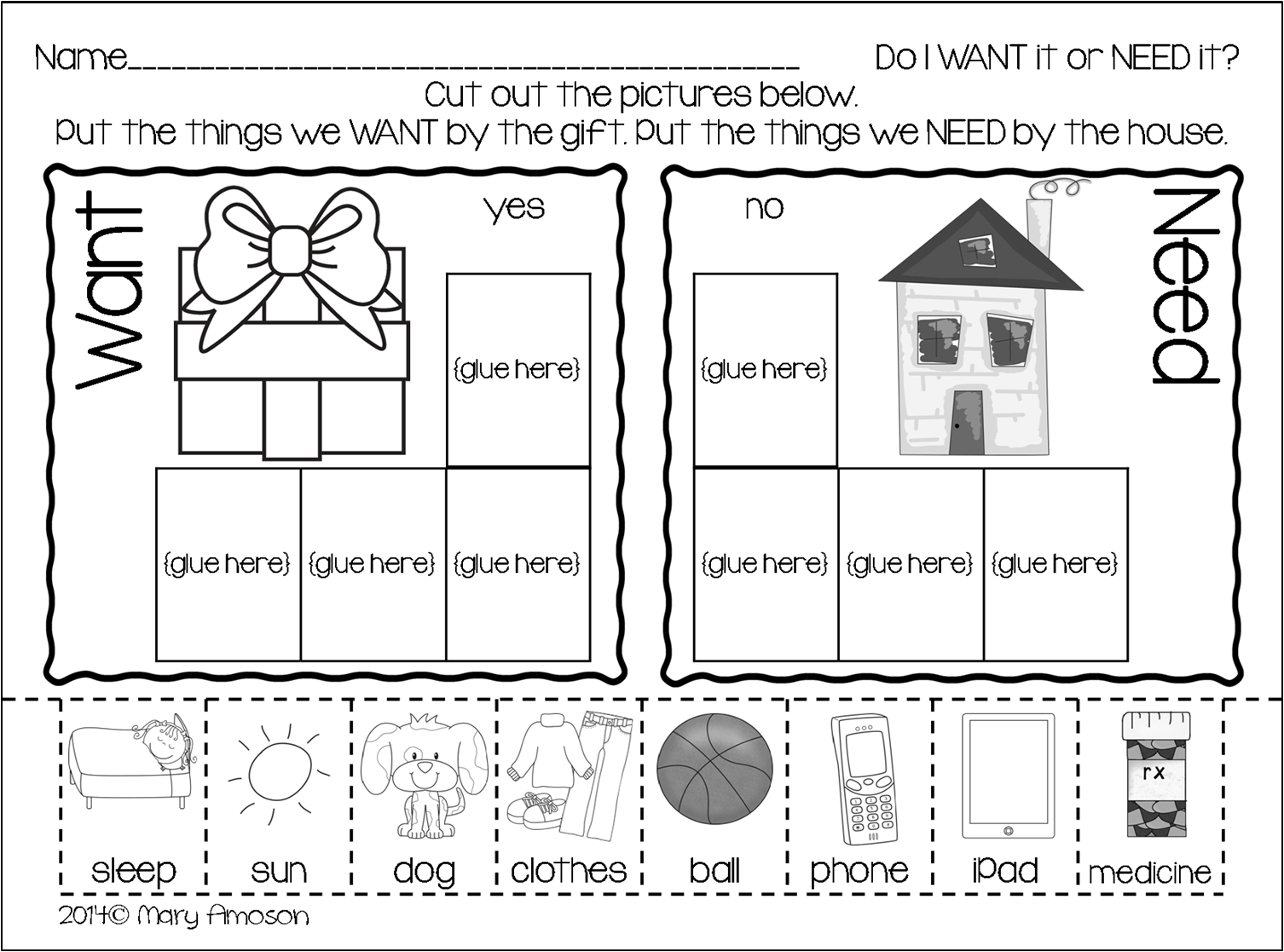 17 Best Images Of Want Vs Need Worksheet Free Printable For Adults