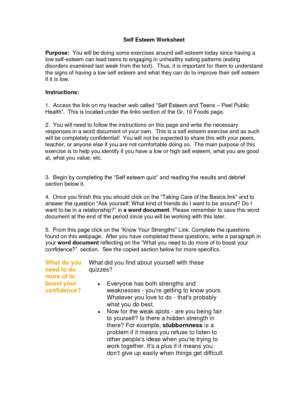 Understanding Self Esteem Worksheet