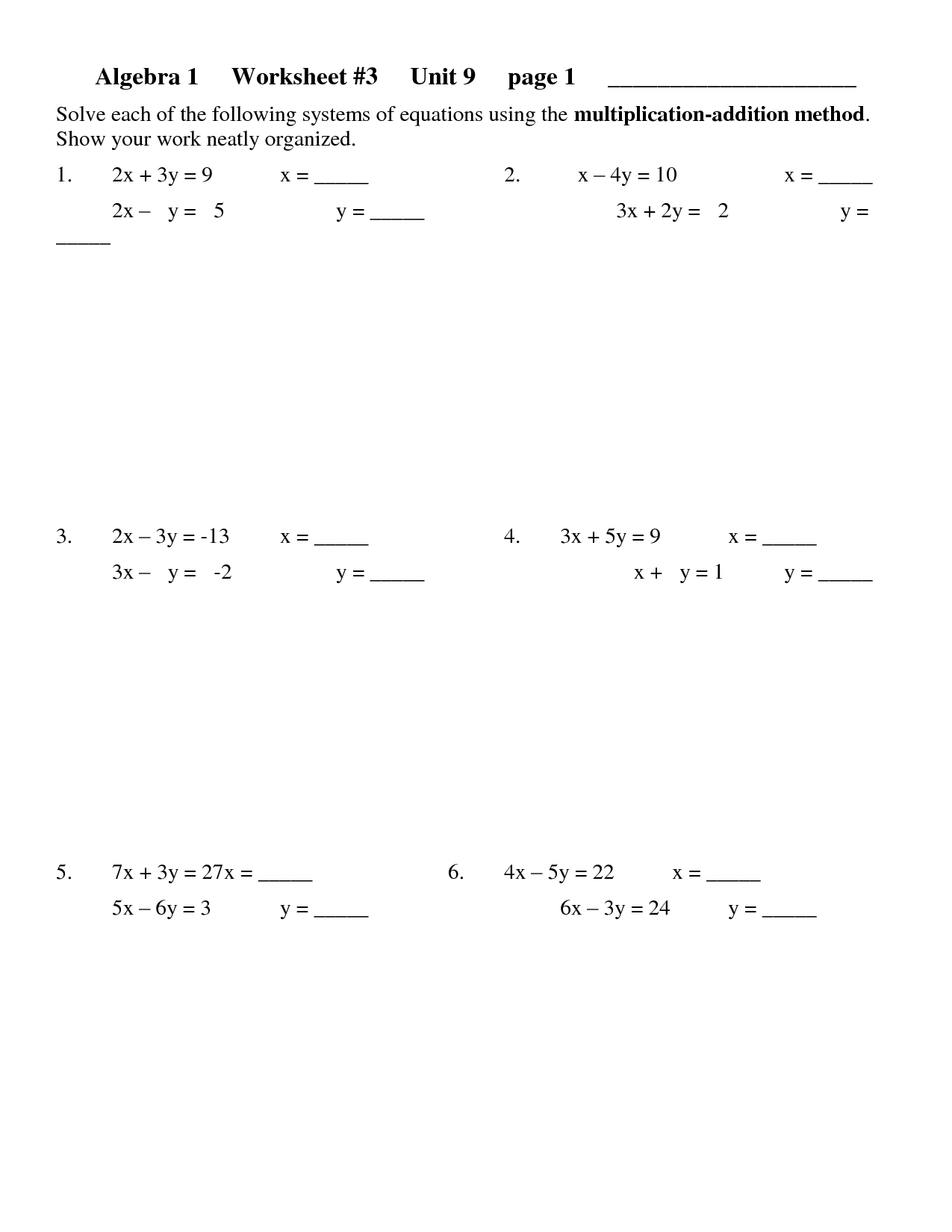 11 Best Images Of Solve For Y Worksheet