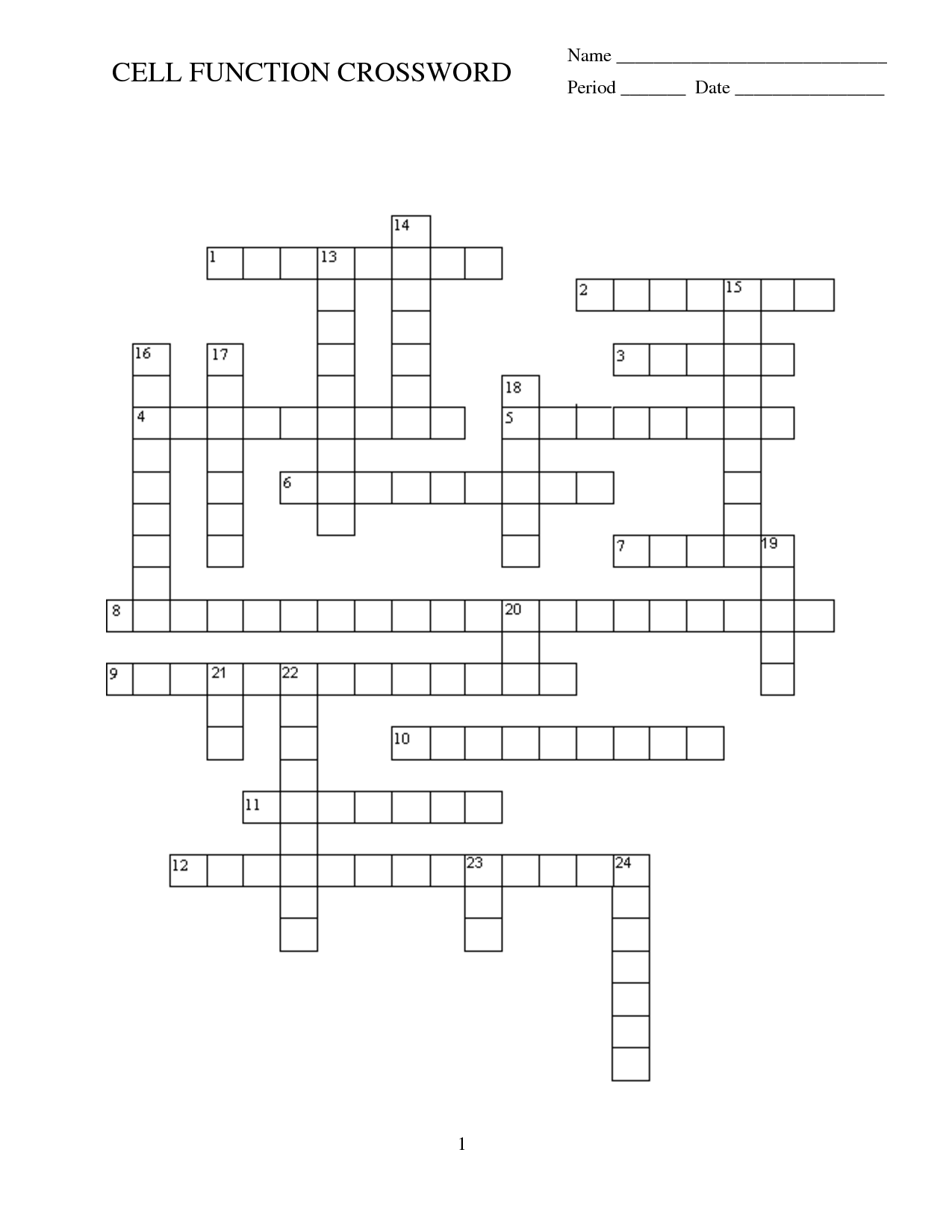 16 Best Images Of Cell Crossword Puzzle Worksheet