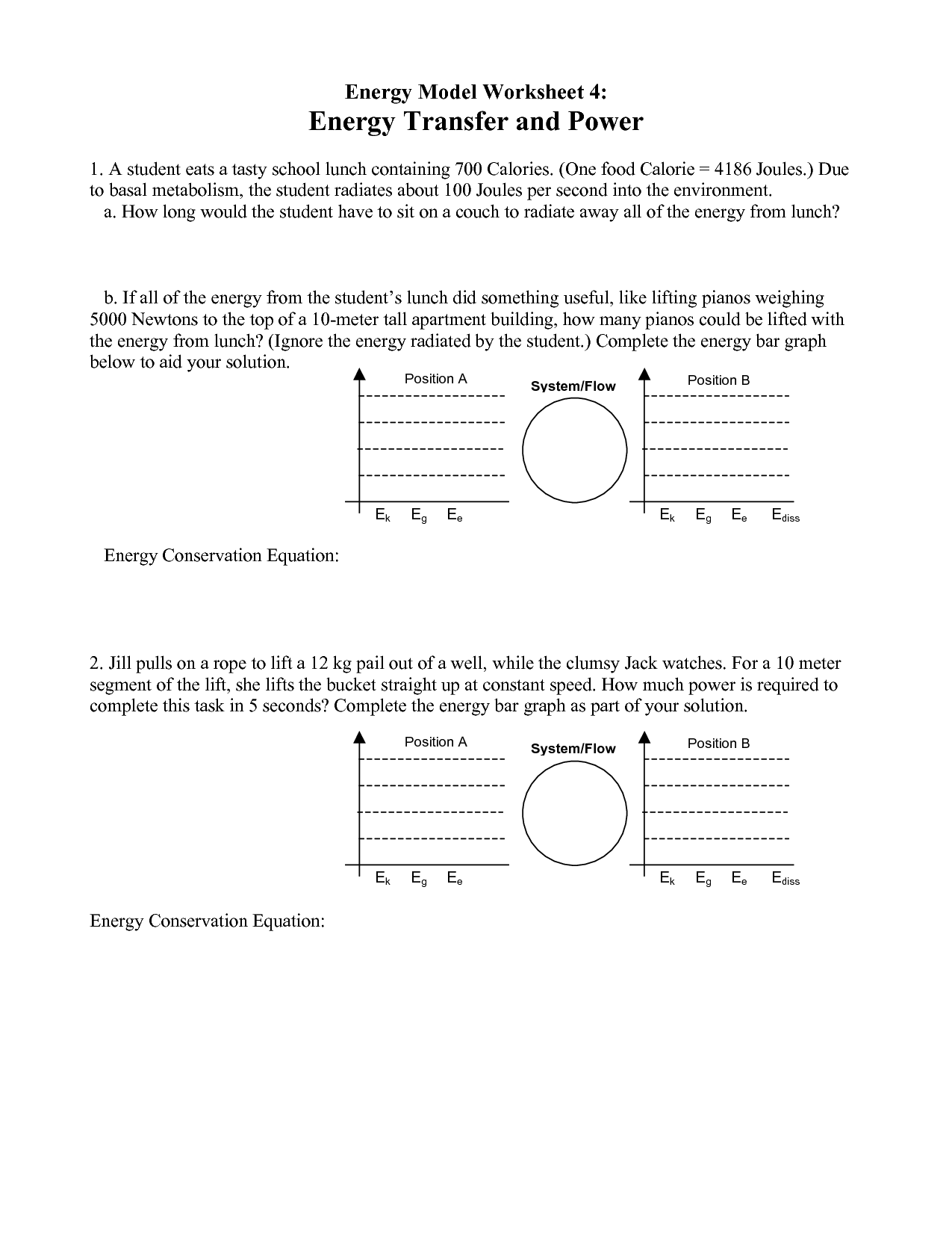 Types Of Energy Transfer Worksheet