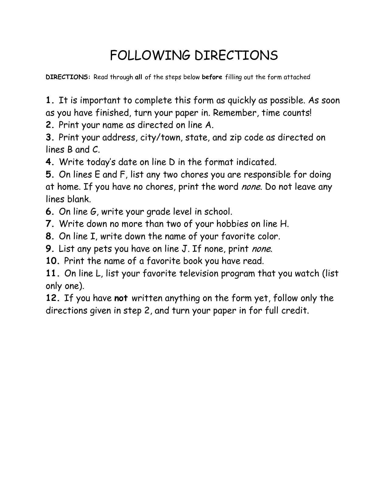 Following Directions Worksheets For Highschool Students