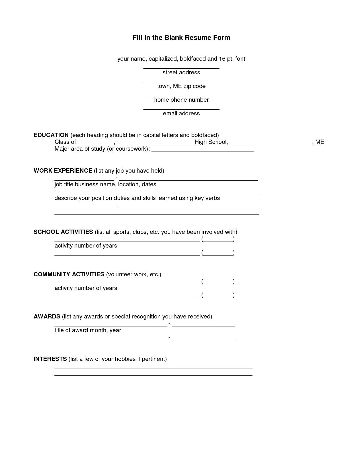 12 Best Images Of Printable Resume Worksheet