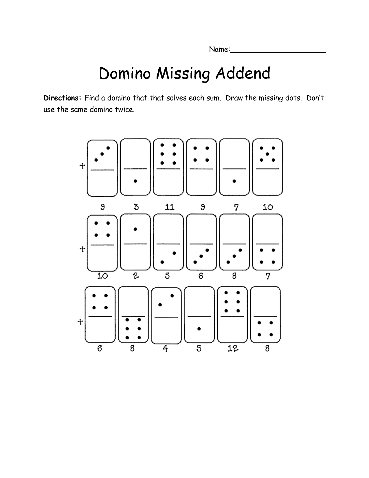 15 Best Images Of Domino Math Missing Addends Worksheets