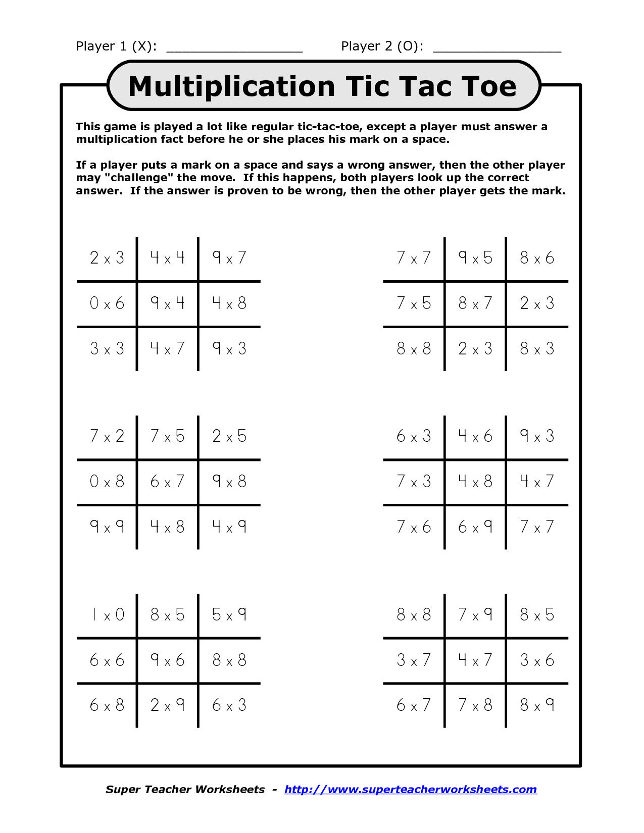 8 Best Images Of Tic Tac Toe Worksheet