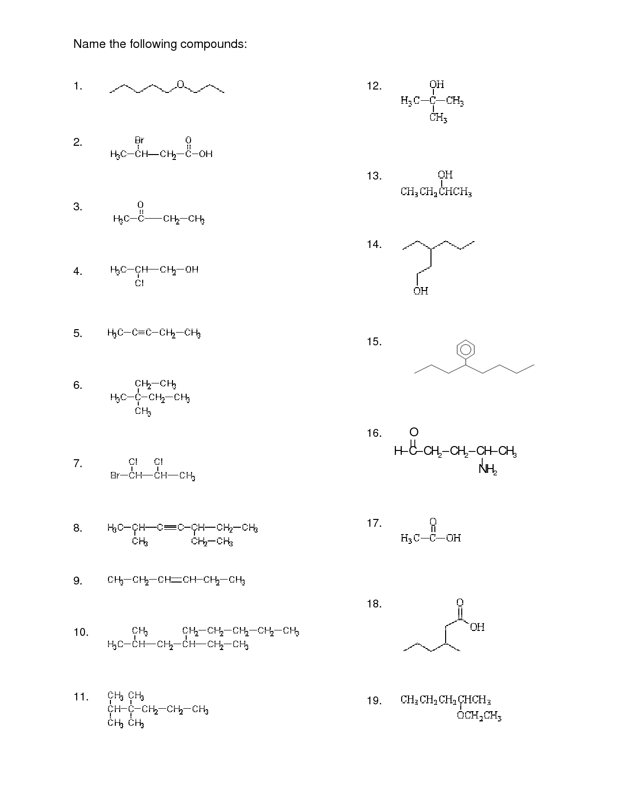 Naming Organic Molecules Worksheet