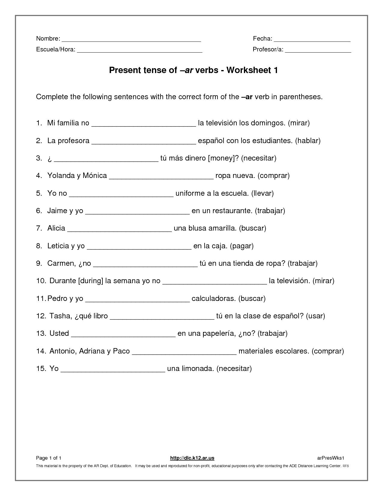 18 Best Images Of Easy Verb Worksheets