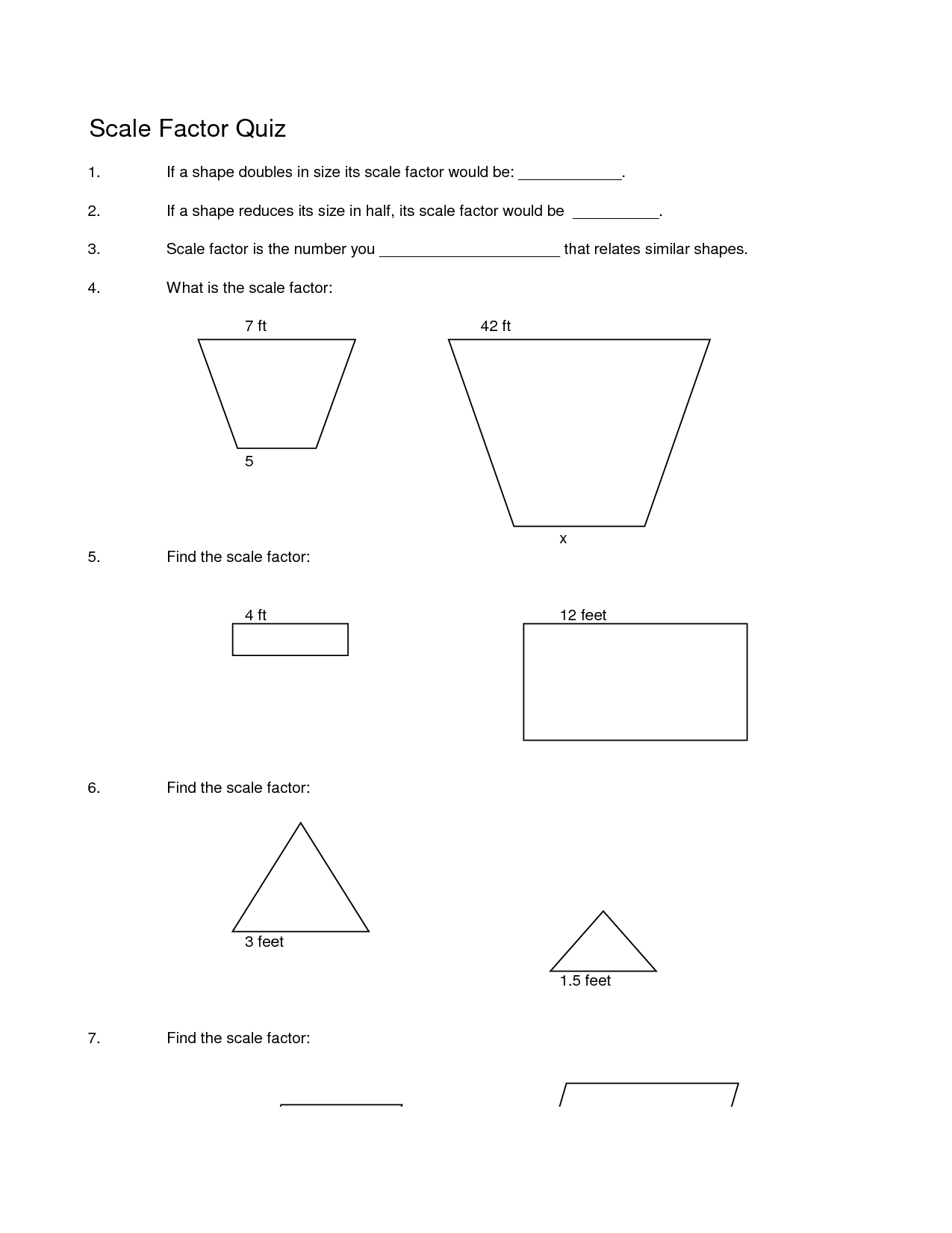 33 Scale Factor Worksheet 7th Grade