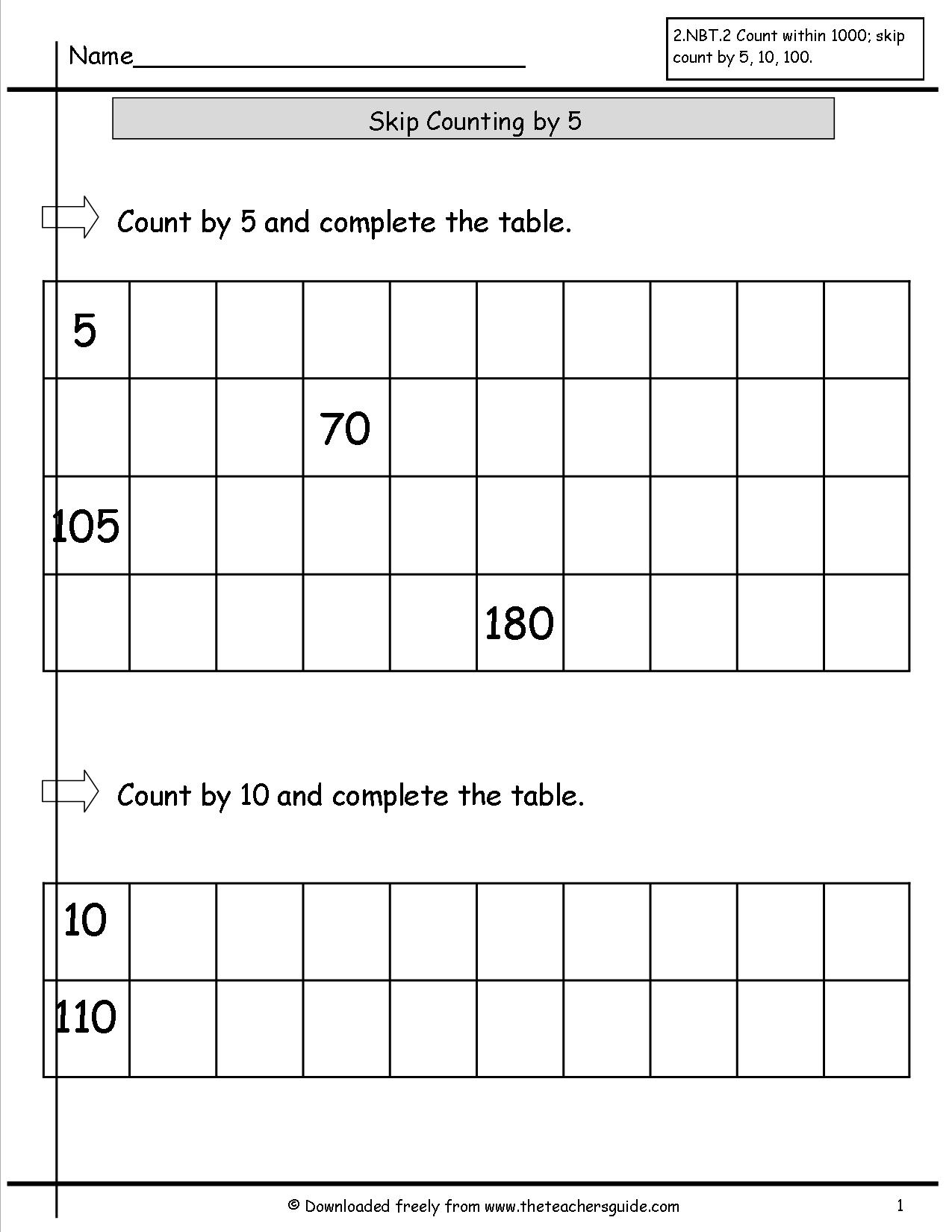 12 Best Images Of Worksheets Counting By 5s Printable
