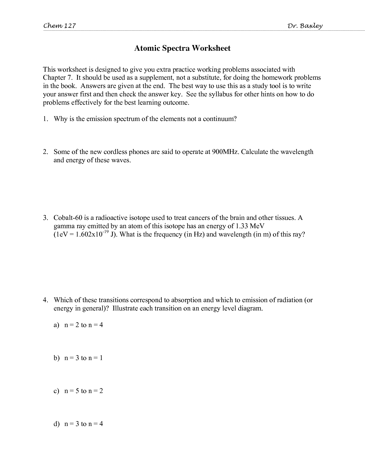 11 Best Images Of Emission Spectra Worksheet