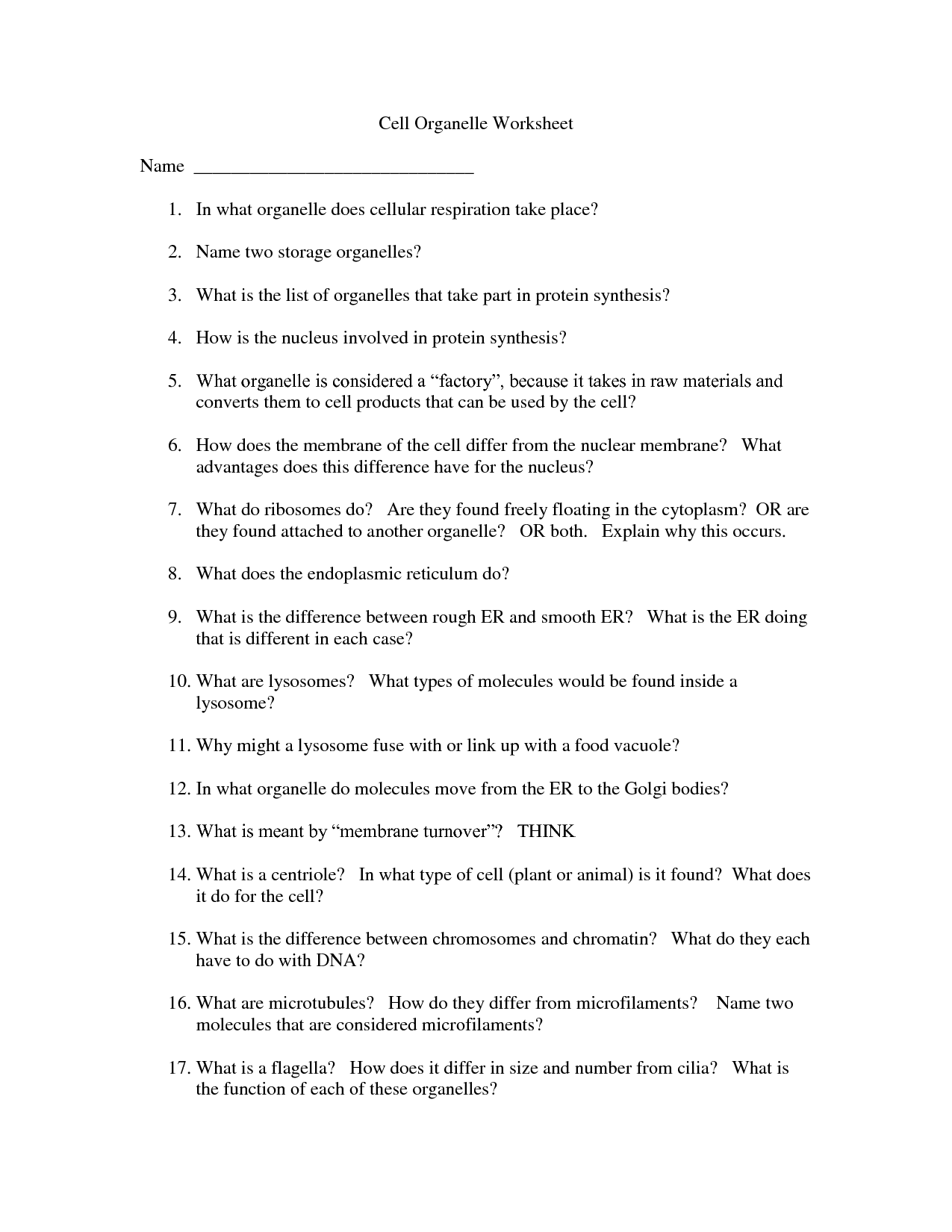 34 Cell Worksheet Answer Key