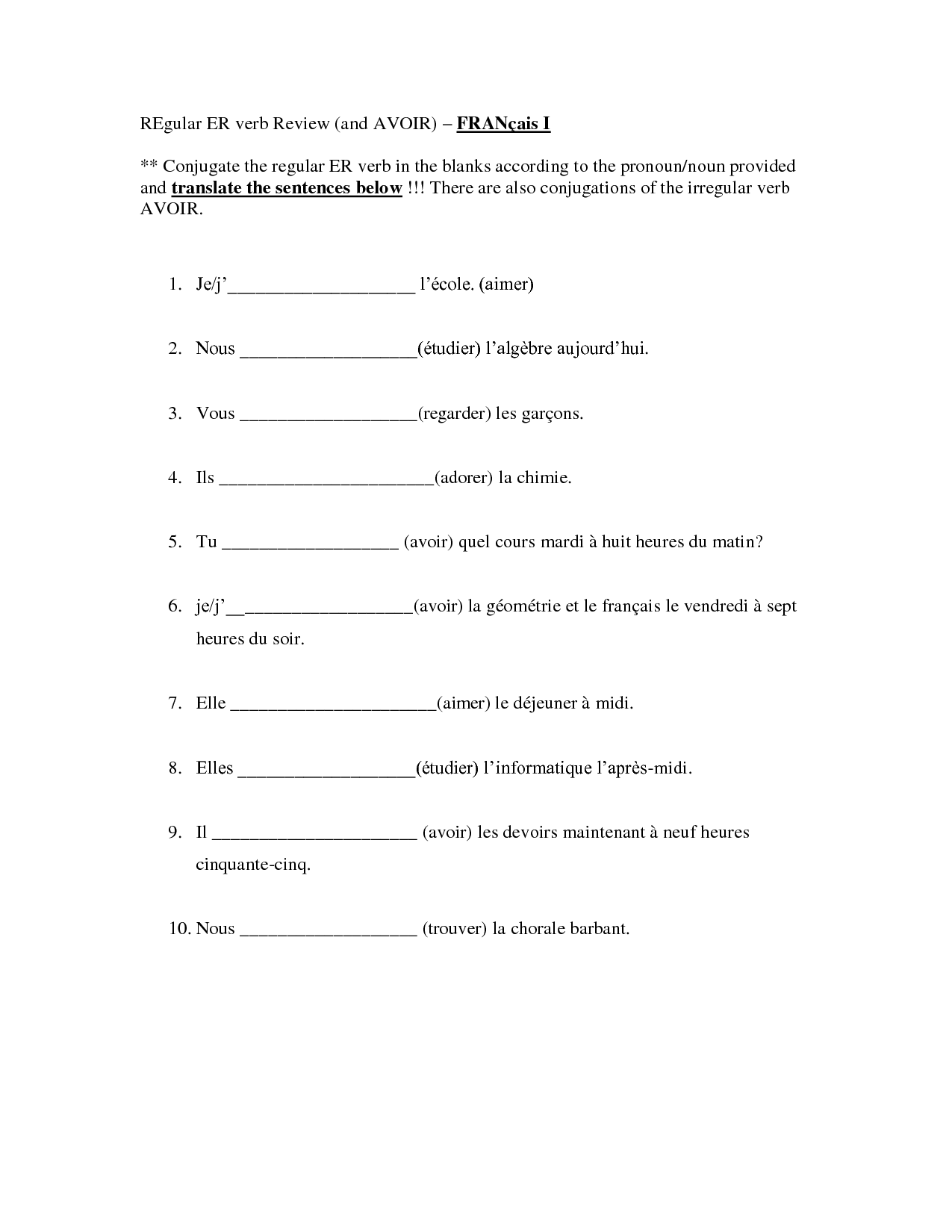 French Verb Exercises Printable
