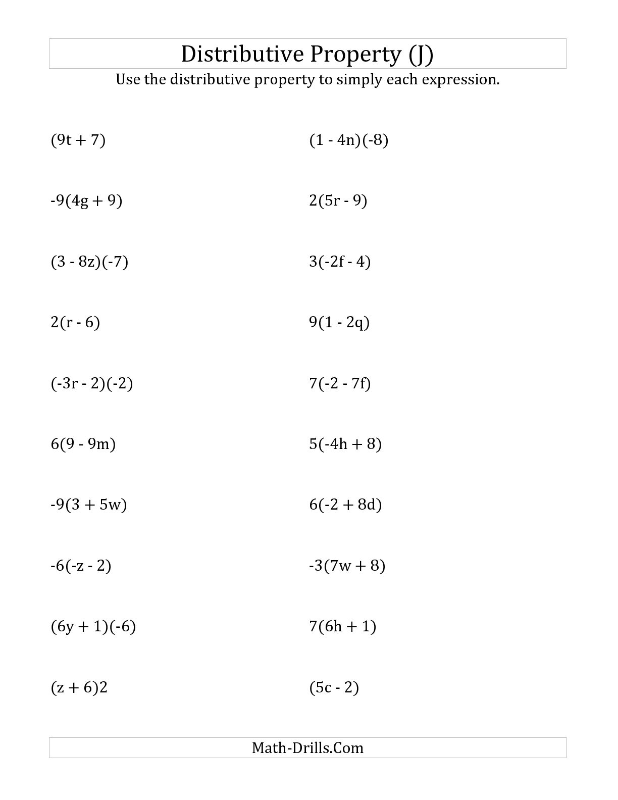 12 Best Images Of Distributive Property Worksheets With Answers