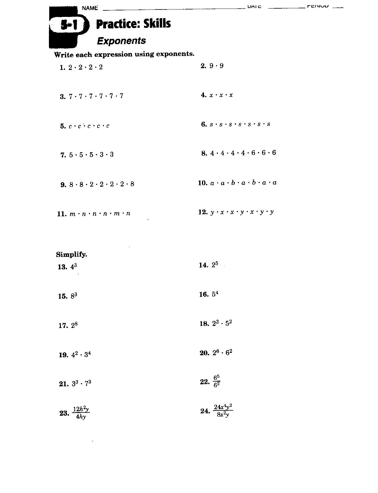 6 Best Images Of Exponent Rules Worksheet 2 Answers