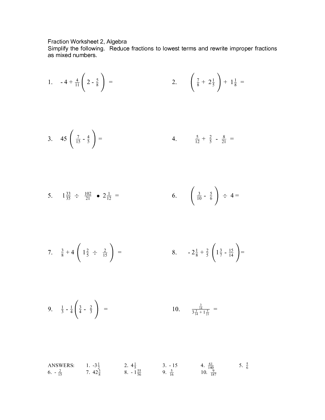 14 Best Images Of Pre Algebra Fraction Worksheets
