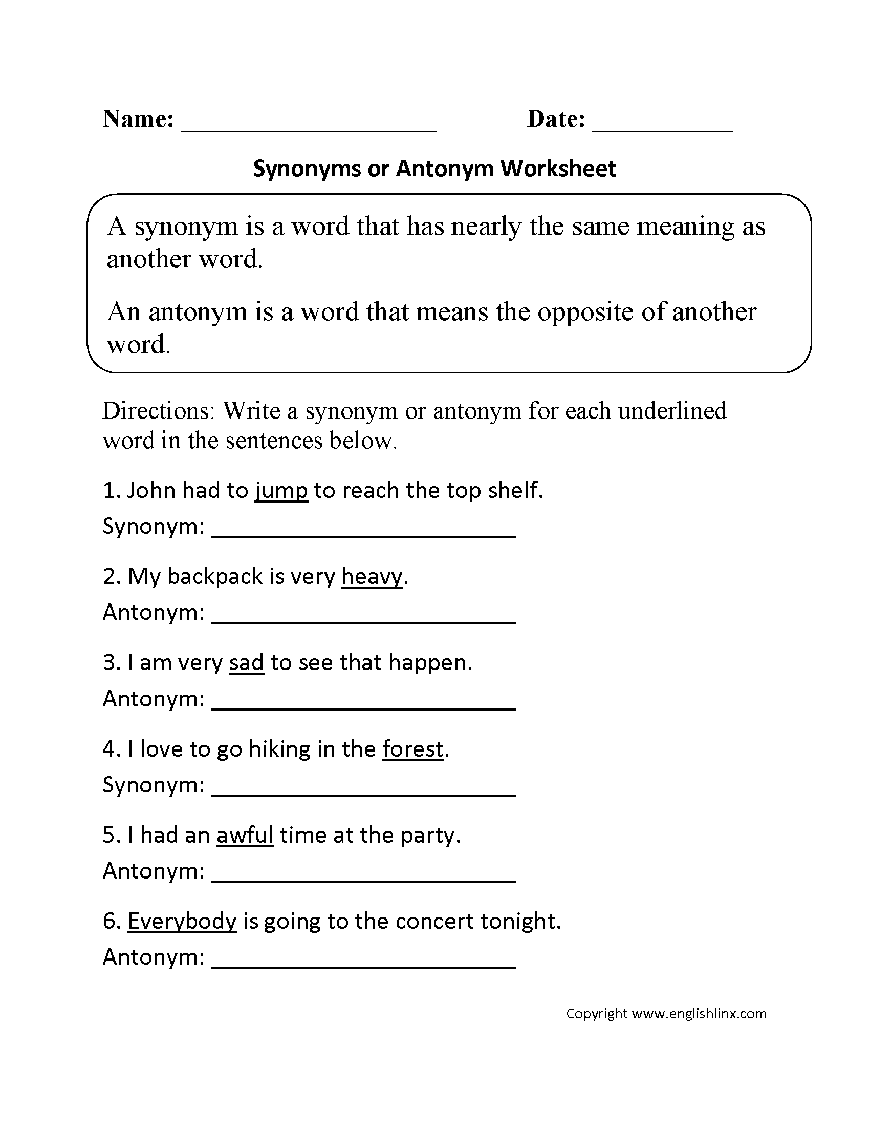 Opposite Antonyms Worksheets