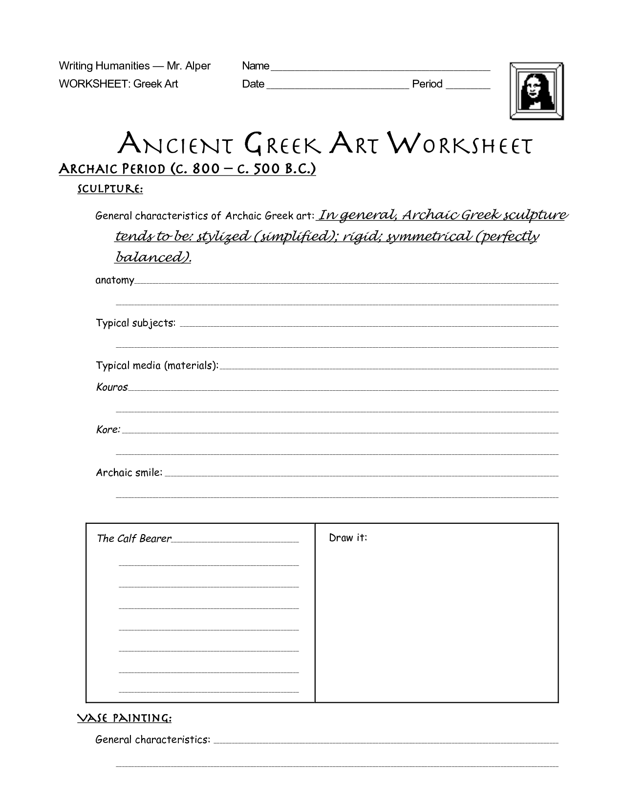 Greece Worksheet Activities