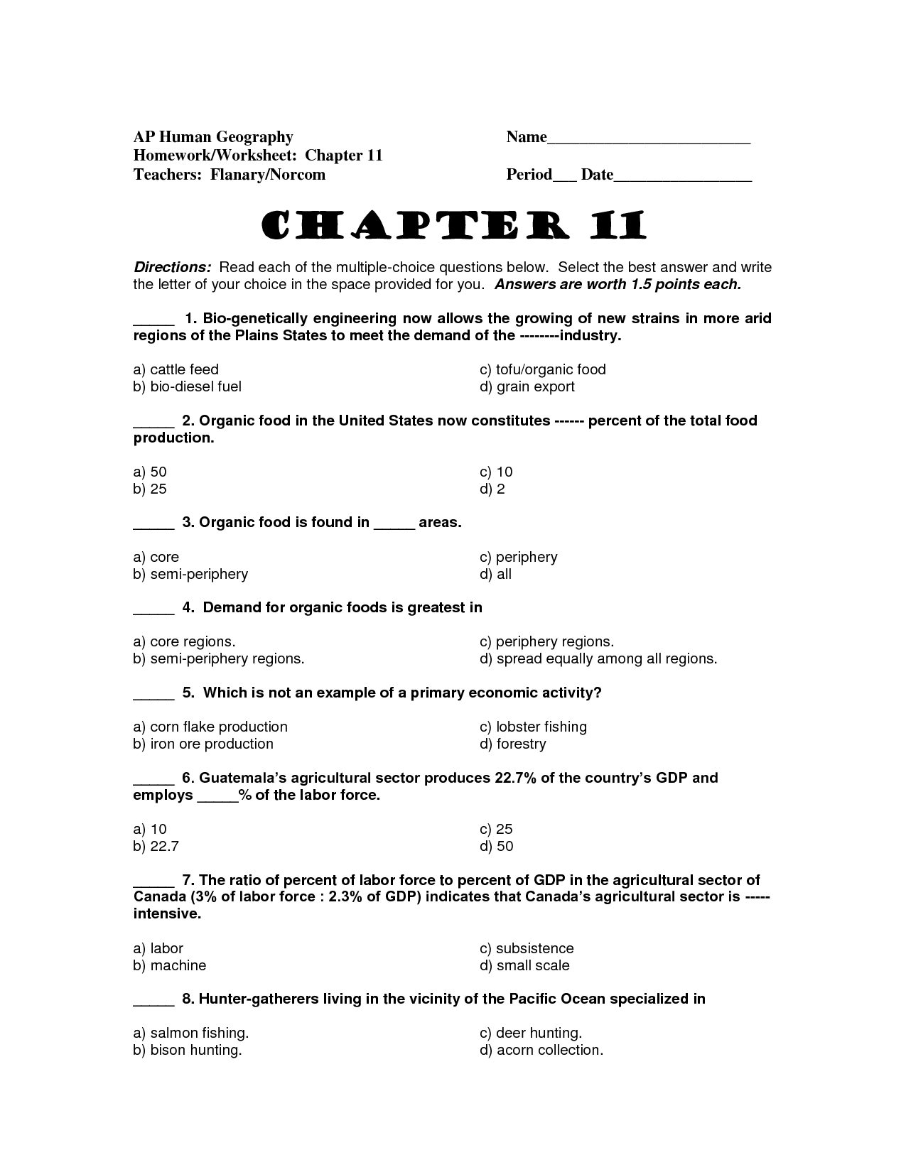 Geography Worksheet Answers
