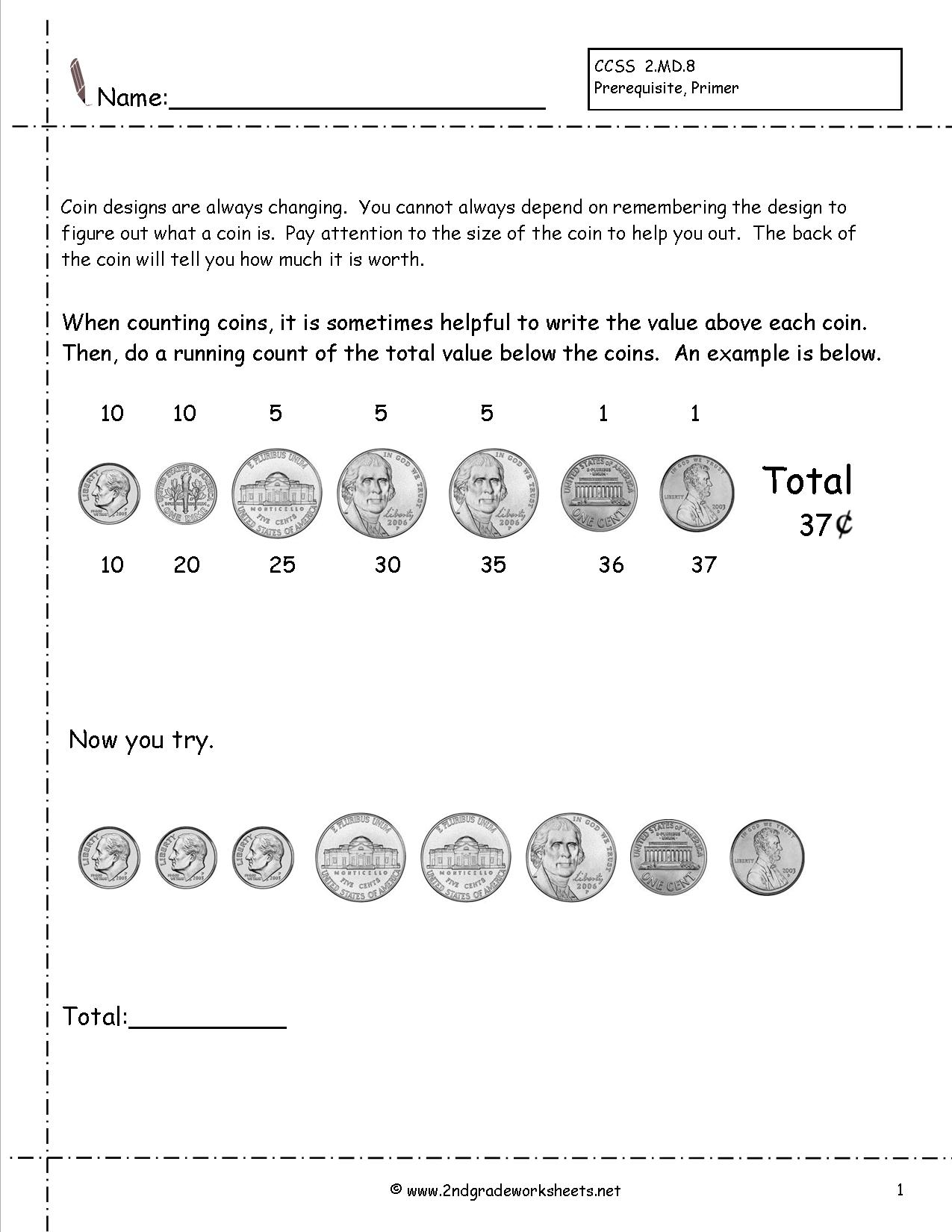 12 Best Images Of Counting Bills Worksheets