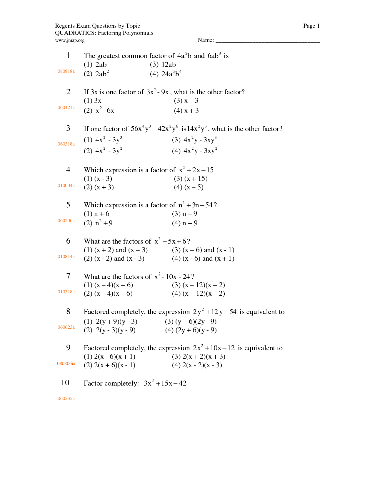 Gcf Worksheet Exponents