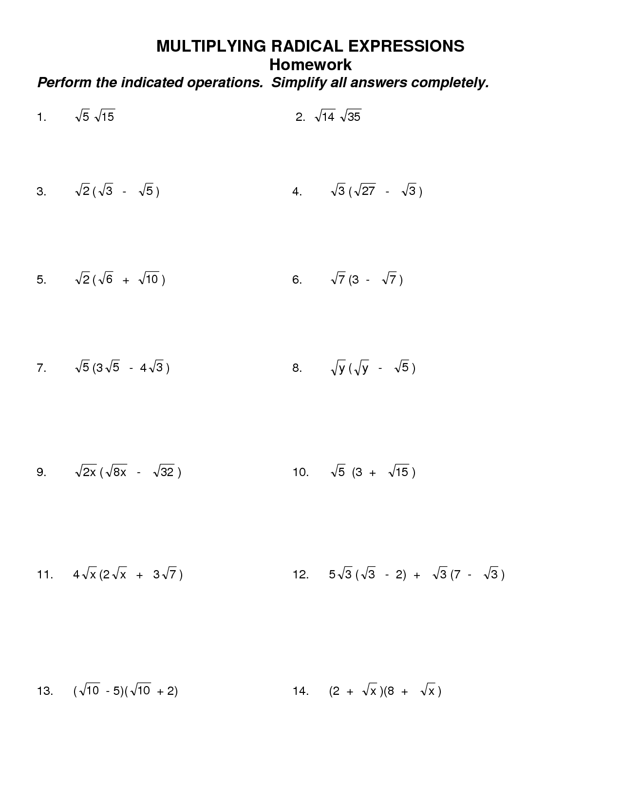 16 Best Images Of Simplify Algebra 2 Worksheet Answers